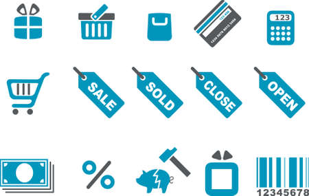 Vector icons pack - Blue Series, shopping collection Stock Vector - 4474680