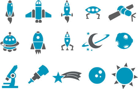 zero gravity: Vector icons pack - Blue Series, space collection