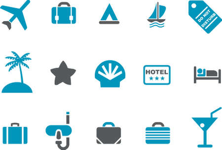 dive trip: Vector icons pack - Blue Series, vacation collection