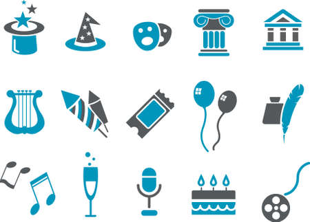 Vector icons pack - Blue Series, Entertainment collection Illustration