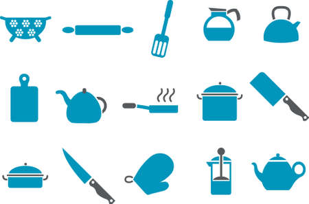trencher: Vector icons pack - Blue Series, cooking tools collection Illustration