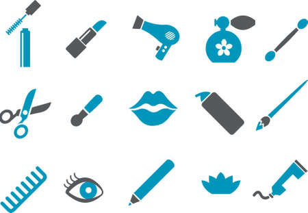 Vector icons pack - Blue Series, make-up collection