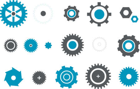 Vector icons pack - Blue Series, gear collection Stock Vector - 4561370