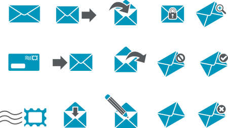received: Vector icons pack - Blue Series, mail collection Illustration