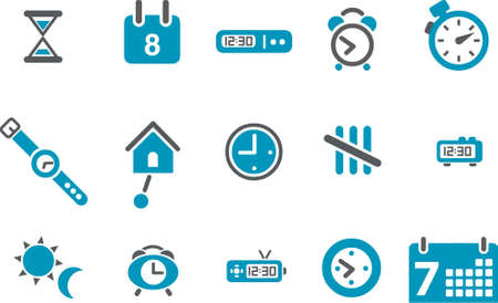 Vector icons pack - Blue Series, time collection