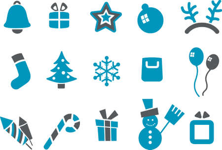 Vector icons pack - Blue Series, Xmas collection Stock Vector - 4561366
