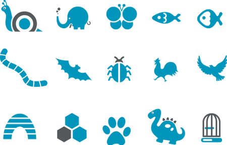 Vector icons pack - Blue Series, animals collection Vector