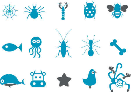 cows: Vector icons pack - Blue Series, animals collection