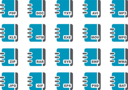 htm: Vector icons pack - Blue Series, document collection Illustration