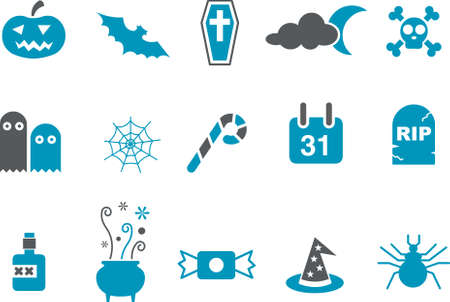 Vector icons pack - Blue Series, halloween collection Stock Vector - 4625427