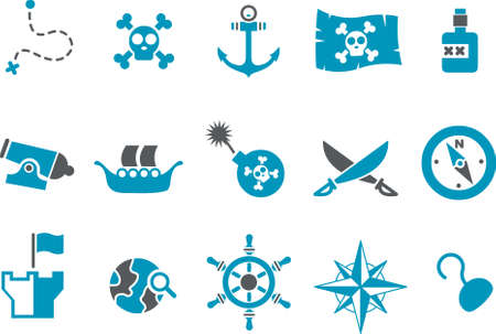 Vector icons pack - Blue Series, pirate collection Stock Vector - 4625431