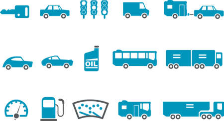 Vector icons pack - Blue Series, transport collection Vector