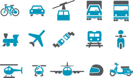 szynach: Vector icons pack - Blue Series, transportu gromadzenia