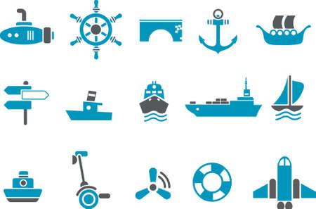 Pack di icone vettoriali - serie blu, raccolta di trasporto