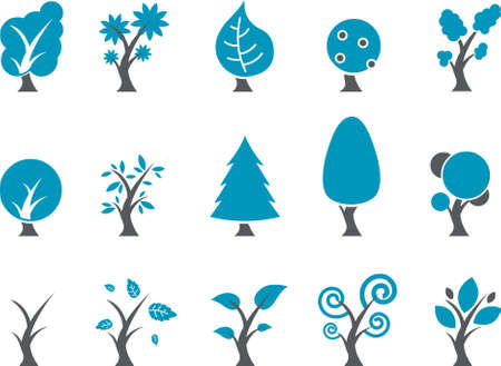 willow trees: Vector icons pack - Blue Series, tree collection