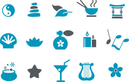 ayurveda: Vector icons pack - Blue Series, zen collection