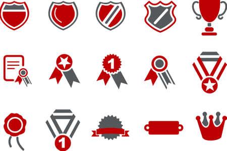 premios: Pack de iconos vectoriales - Serie Roja, escudos colecci�n