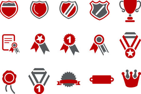 Vector icons pack - Red Series, badges collection Illustration