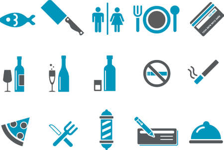 Vector icons pack - Blue Series, bar and restaurant collection Illustration