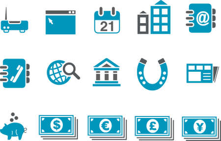 Vector icons pack - Blue Series, business collection Stock Vector - 4699382