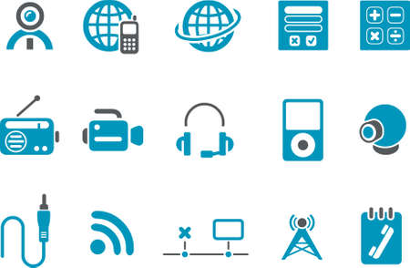 Vector icons pack - Blue Series, electronic collection