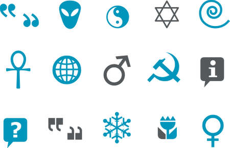 hebrew bibles: Vector icons pack - Blue Series, symbols collection