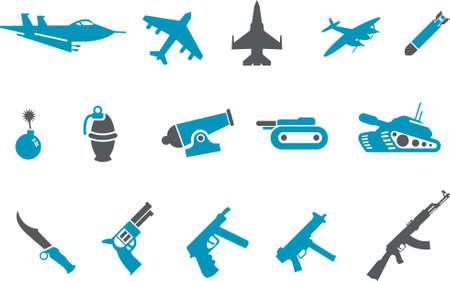 bombing: Vector icons pack - Blue Series, wapens collectie Stock Illustratie