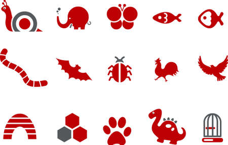 chicken cage: Vector icons pack - Red Series, animals collection Illustration