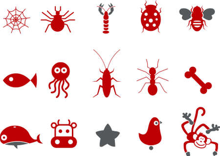 Vector icons pack - Red Series, animals collection Illustration