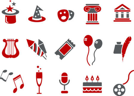 poet: Vector icons pack - Red Series, entertainment and art collection Illustration