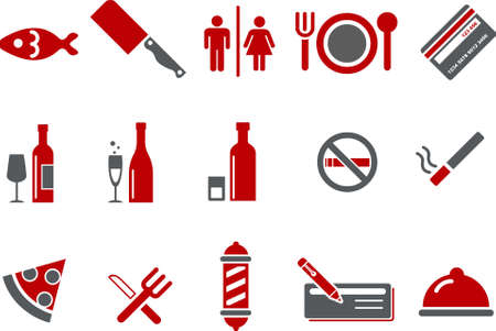Vector icons pack - Red Series, bar and restaurant collection