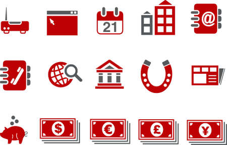 Vector icons pack - Red Series, business collection Vector