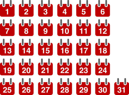 Vector icons pack - Red Series, calendar collection Stock Vector - 5057643