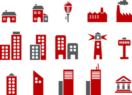 Vector icons pack - Red Series, city collection
