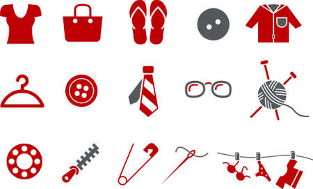 zip tie: Vector icons pack - Red Series, clothing collection Illustration