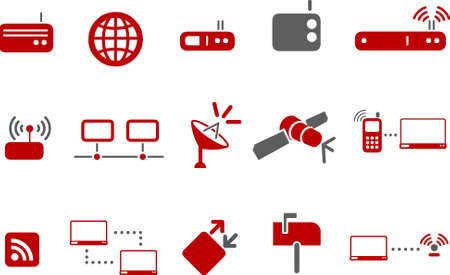 hub computer: Vector icons pack - Red Series, communication collection