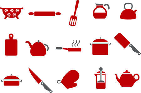 stainless steel pot: Vector icons pack - Red Series, cooking tools collection