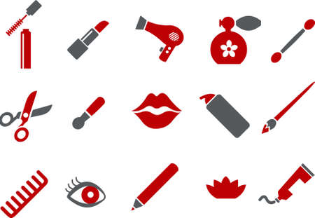 scissors comb: Vector icons pack - Red Series, make-up collection