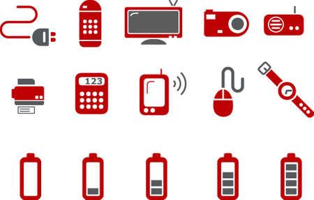 cables: Vector icons pack - Red Series, electronic collection Illustration