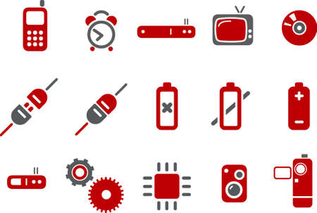 Vector icons pack - Red Series, electronic collection Stock Vector - 5057566