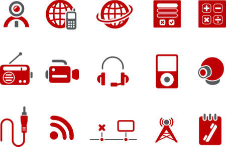 Vector icons pack - Red Series, electronic collection Stock Vector - 5057601
