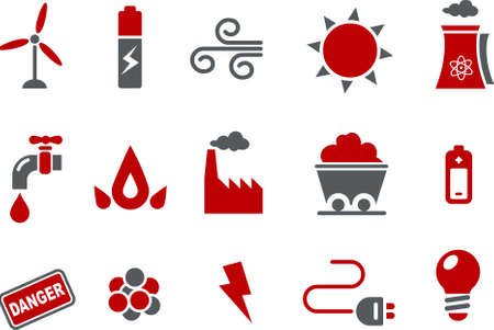 Vector icons pack - Red Series, energy collection Illustration
