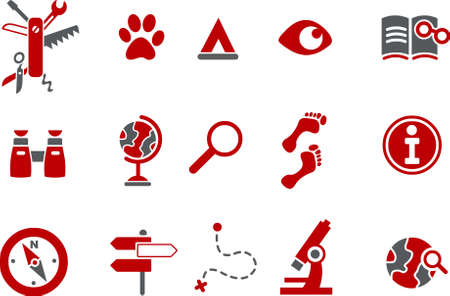 archaeology: Vector icons pack - Red Series, exploration collection Illustration