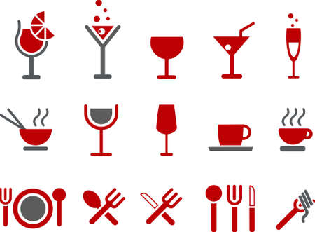 martini: Vector icons pack - Red Series, food collection