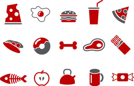 Vector icons pack - Red Series, food collection