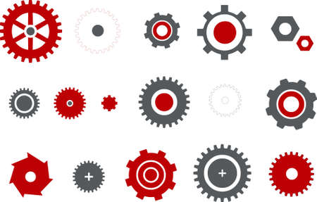 machine teeth: Vector icons pack - Red Series, gear collection