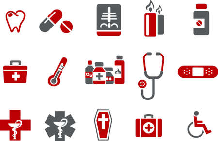 Vector icons pack - Red Series, health collection Stock Vector - 5057540