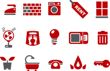 Vector icons pack - Red Series, house collection Vector