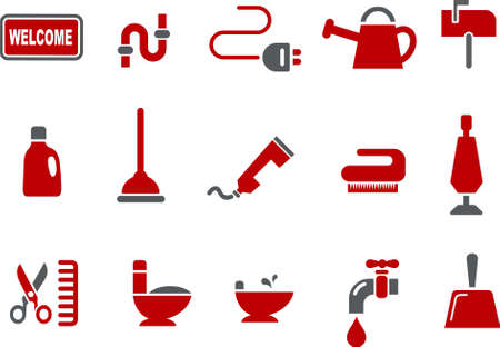 Vector icons pack - Red Series, house collection