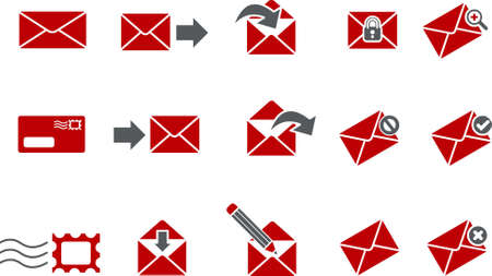 delivered: Vector icons pack - Red Series, mail collection